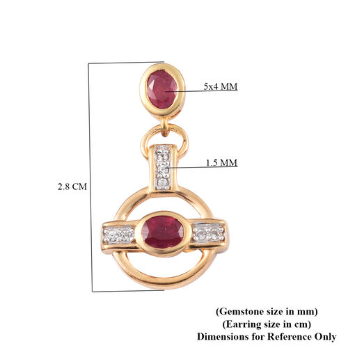 Designer Inspired African Ruby and Natural Cambodian Zircon Dangle Earrings (with Push Back) in 14K Gold Overlay Sterling Silver 2.25 Ct.