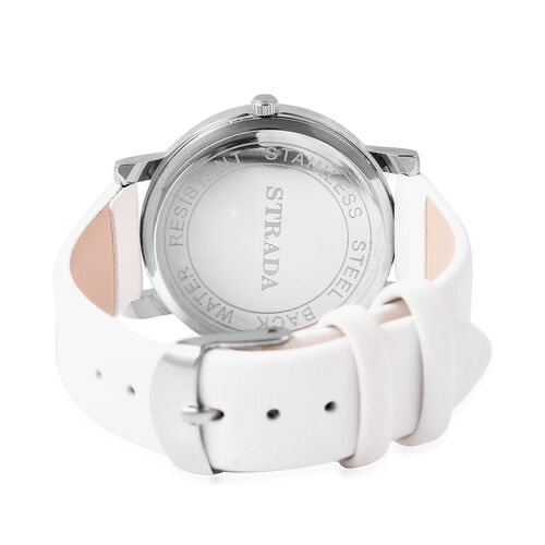 STRADA Japanese Movement Simulated Diamond Studded Butterfly Motif Dial Water Resistant Watch in Stainless Steel with White Colour Strap