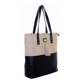 New Season: Tote Bag with Stud & Tassel Detail (39 x 36 x 12) - Biege & Black