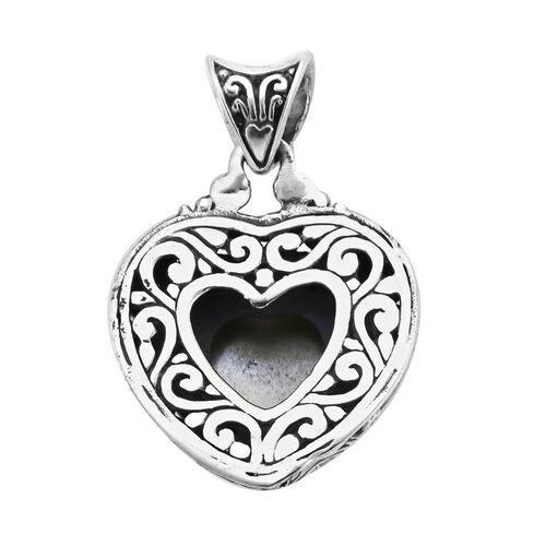 Royal Bali Collection - Blue Mabe Pearl Heart Pendant in Sterling Silver, Silver wt 6.99 Gms