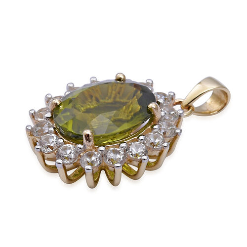 9K Yellow Gold Hebei Peridot (Ovl 12x10 mm), Natural Cambodian White Zircon Pendant 6.350 Ct.