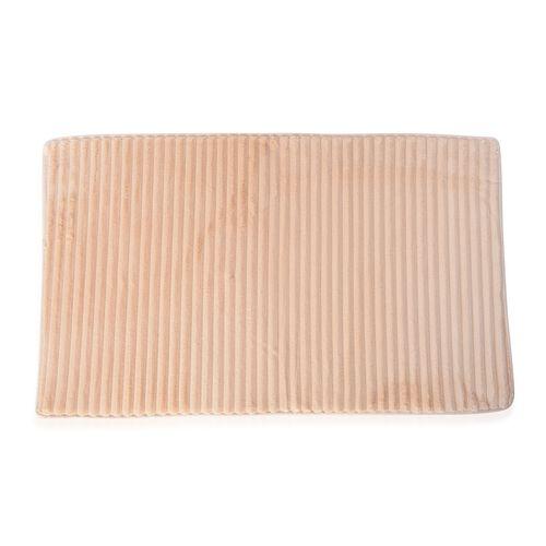 3 Pcs Bath Set - Beige Colour Bath Mats (Size 80x50 cm), Toilet Seat Cover (Size 47x40 cm) and Contour Mat (Size 50x39 cm)