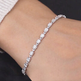 White Diamond Bracelet (Size 8 with Extender) in Platinum Overlay Sterling Silver