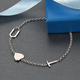 Personalised Two Alphabet + Heart, Name Bracelet in Silver, Size - 7.5 Inch