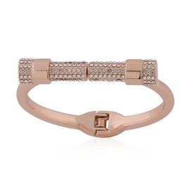 White Austrian Crystal Bangle (Size 6.5) in Rose Gold Tone