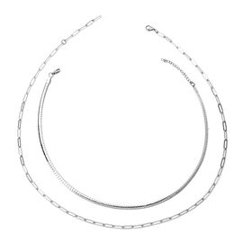 Set of 2 -  Necklace Pure White Stainless Steel