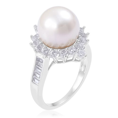 South Sea White Pearl (Rnd 11-12mm), White Topaz Ring in Rhodium Plated Sterling Silver