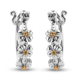 Yellow Diamond Floral Hoop Earrings (with Clasp) in Yellow Gold and Platinum Overlay Sterling Silver