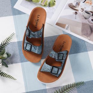 LA MAREY Open-Toe Snakeskin Pattern Sandals - Brown and Blue
