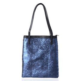 Blue Colour Sequins Adorned Handbag (Size 36x31cm)