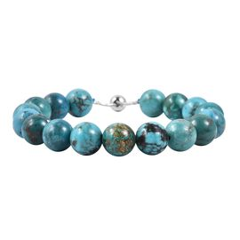 Limited Available- Extremely Rare Anuhi Turquoise (Rnd 9-11 mm) Adjustable Beads Bracelet (Size 6.5 - 8.5) in Sterling Silver 64.000 Ct.