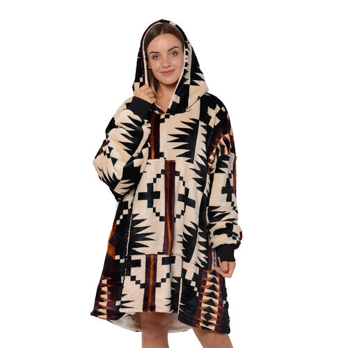 Serenity Night - Santa Fe Collection - Flannel Sherpa Hooded Sweatshirt (Size 85x90cm) - Black, Cream and Multi