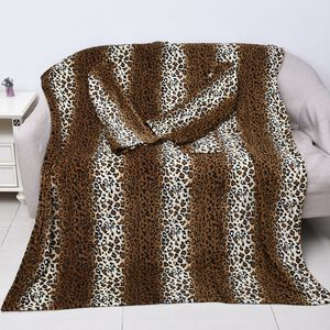 Soft Coral Fleece Leopard Pattern TV Blanket with Sleeves and Pocket (Size 140x180 Cm) - Black, Brown and Off-White Colour