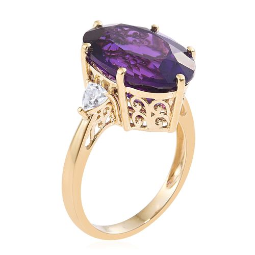 Colour Of The Year-9K Yellow Gold AAA Zambian Amethyst (Ovl), Natural Cambodian Zircon Ring 12.000 Ct.