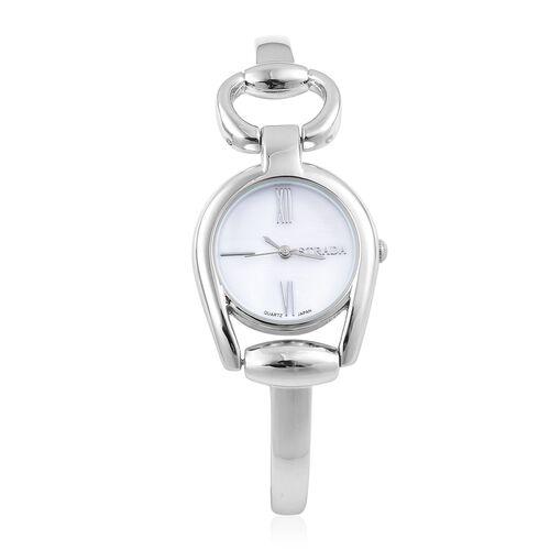 Designer Inspired - STRADA Japanese Movement Snaffle Silver Tone Watch