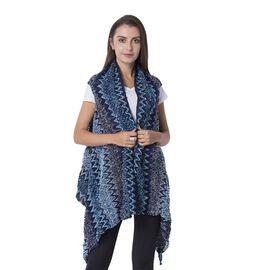 Italian Designer Inspired-Blue Colour Chevron Pattern Kimono (Size 65x50 Cm)