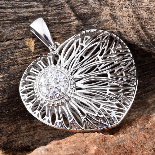 J Francis - Platinum Overlay Sterling Silver Heart Pendant Made wth SWAROVSKI ZIRCONIA, Silver wt 10.96 Gms.