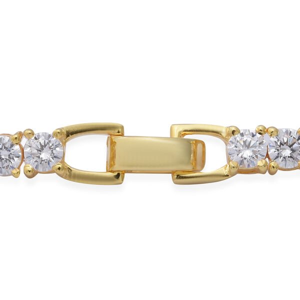 ELANZA Swiss Star Cut Cubic Zirconia (Rnd) Bracelet (Size 7) in Yellow Gold Overlay Sterling Silver, Silver wt 10.30 Gms