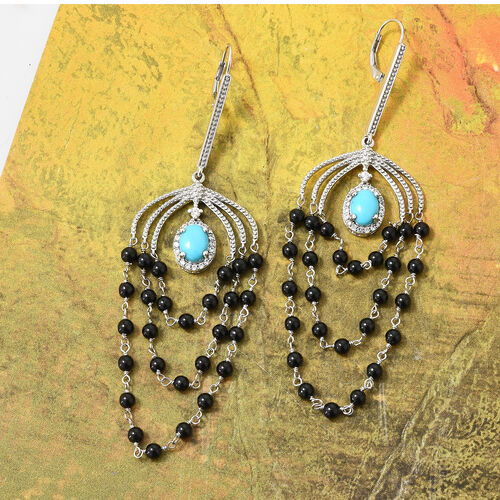 AA  Arizona Sleeping Beauty Turquoise (Ovl), Bio Ploi Black Spinel and Natural White Cambodian Zircon Lever Back Earrings in Platinum Overlay Sterling Silver 17.500 Ct, Silver wt 8.72 Gms