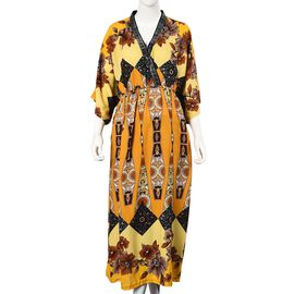 Flower Pattern Long Dress with Crystal Collar (One Size Fits All) - Yellow and Multi
