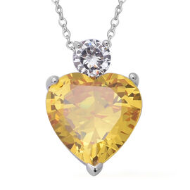 ELANZA Simulated Citrine and Diamond Heart Pendant With Chain in Rhodium Plated Silver 18 Inch