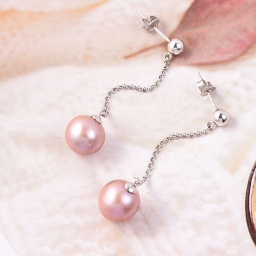 Edison Pearl Chain Dangle Earrings (with Push Back) in Rhodium Overlay Sterling Silver