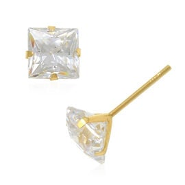 One Time Close Out Deal- J Francis 9K Yellow Gold Stud Earrings (with Push Back) Made with SWAROVSKI