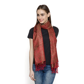 SILK MARK - 100% Superfine Silk Burgundy and Multi Colour Jacquard Jamawar Scarf with Tassels (Size