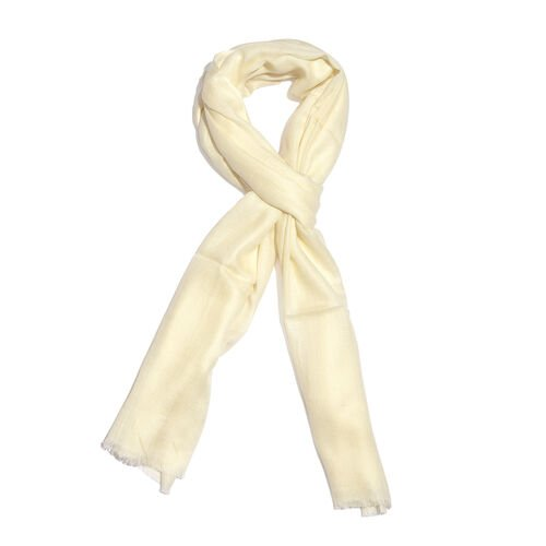 Limited Available - Super Soft- 100% Cashmere Wool Off White Colour Shawl with Fringes (Size 200X70 Cm)