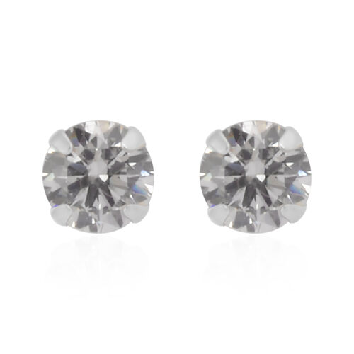 NY Close Out Deal- 9K White Gold Cubic Zirconia Stud Earrings