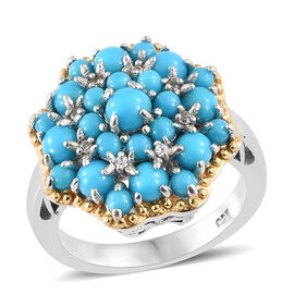 SLEEPING BEAUTY TURQUOISE (2.42 Ct),Cambodian Zircon Sterling Silver Ring  2.500  Ct.