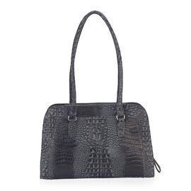 100% Genuine Leather Croc Embossed RFID Protected Shoulder Bag (Size 35.5x23.5x10 Cm) - Navy Blue