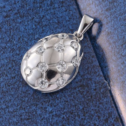 J Francis - Platinum Overlay Sterling Silver (Rnd) Pendant Made with SWAROVSKI ZIRCONIA, Silver wt 3.49 Gms.
