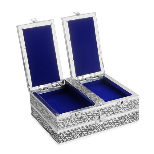 Handcrafted Elephant Embossed Double Storey Two Door Jewellery Box with Blue Velvet and Mirror Inside (Size 23X17.5X8 Cm)