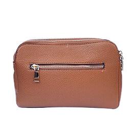 Kris Ana Triple Zipper Crossbody Bag (23x7x18cm) with Detachable Shoulder Strap- Tan