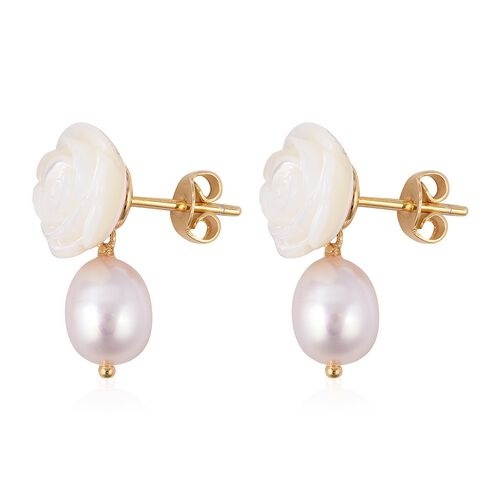 White Mother of Pearl (9.75 Ct),Fresh Water Pearl Sterling Silver Earring  17.500  Ct.