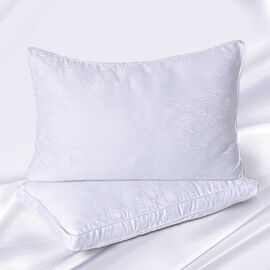 Serenity Night - Set of 2 - Mulberry Silk and Faux Down Pillows with 5 cm Gusset and Jacquard Cover
