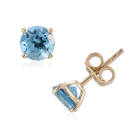 9K Yellow Gold AA Swiss Blue Topaz (Rnd) Stud Earrings (With Push Back) 2.000 Ct.