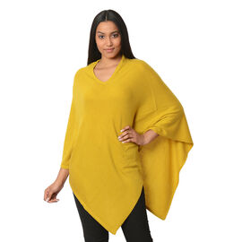 Limited Available - 100% Cashmere Pashmina Wool Poncho - Mustard Colour (Free Size/90 Cm)