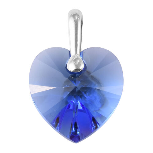 J Francis Sapphire Colour Crystal from Swarovski Heart Pendant in Sterling Silver