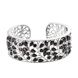 11.50 Ct Elite Shungite Open Work Leaf Cuff Bangle in Platinum Plated Silver 38.50 Grams 7.5 Inch