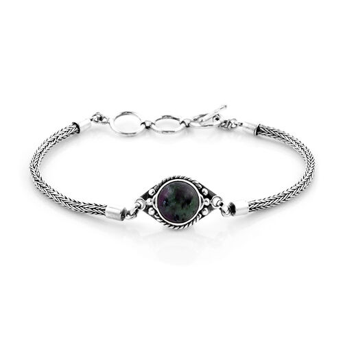 Royal Bali Collection - Ruby Zoisite Tulang Naga Bracelet (Size 8 with Extender) in Sterling Silver