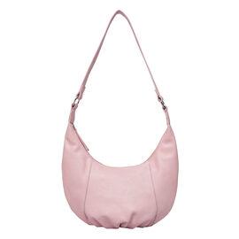 ASSOTS LONDON Luna Genuine Pebble Grain Leather Hobo Shoulder Bag - Pastel Pink