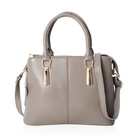 100% Genuine Leather Grey Colour Tote Bag with External Zipper Pocket and Removable Shoulder Strap (29.5x23x13 Cm)