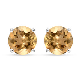Citrine Earrings (with Push Back) in Sterling Silver 5.09 Ct.