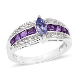 Tanzanite (Mrq), Amethyst and Natural White Cambodian Zircon Ring in Rhodium Plated Sterling Silver 1.330 Ct.