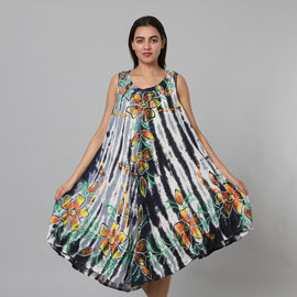 Tie & Dye Black and White Umbrella Dress in Floral Pattern (Size upto 18)
