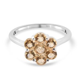 Citrine Floral Cluster Ring in Sterling Silver 1.21 Ct.