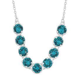 J Francis Crystal From Swarovski - Blue Topaz Colour Crystal (Rnd) Necklace (Size 18) in Sterling Silver