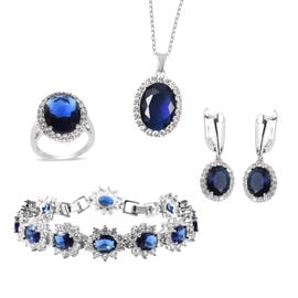 4 Piece Set -  Simulated Blue Sapphire and Simulated Diamond Ring, Necklace (Size 20 with 2 inch Ext
